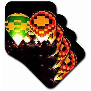 3dRose cst_119894_1 Hot Air Balloons Glowing At Night Soft Coasters, Set of 4