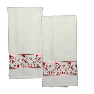Santa Claus Dog Red-bordered Towels (Set of 2, 100% Cotton Towels), White