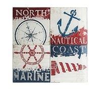 American Atelier Nautical Coasters With Caddy (Set Of 4), Red