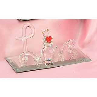 StealStreet SS-UG-AR-122 Square Crystal Display with Mirror Decoration Figurine, Love Bear