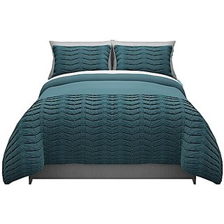 Republic Pleated Tucks Duvet Set, Teal, Twin