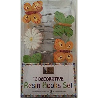 Butterflies & Flower Design - 12 Decorative Resin Shower Curtain Hook Set