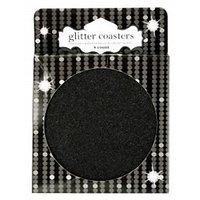 Black Glitter Coasters, Set Of 4, Christmas, Holiday, New Years Eve Decor