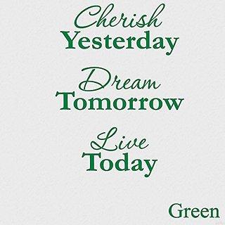 Vinyl Say G.Green -11x15-1256.cherish Cherish Yesterday Dream Tomorrow Live Today Vinyl Wall Decal, 14-Inch x 11-Inch, G