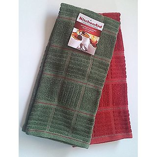 KitchenAid 2 Pack Kitchen Towels, Khaki Green/ Terracotta