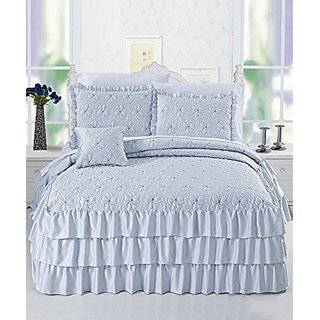 BNF Home 4 Piece Matte Satin Ruffle Quilted Bedspread Set, Queen, Light Blue