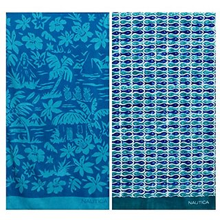 Nautica One Fish Two Fish and Palm Scene Beach Towel Set