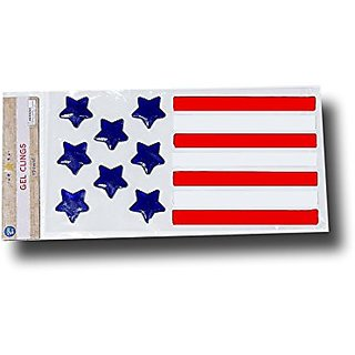 Patriotic Stars and Stripes Red and Blue Gel Window Clings