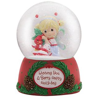 Precious Moments Wishing You a Berry Happy Holly-Day Water Globe Figurine