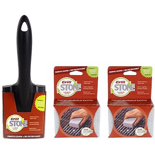 GrillStone Grill Cleaner Starter Set, with Handle and Two Blocks