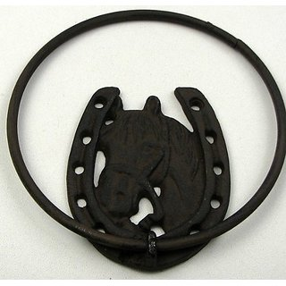 Horse With Horseshoe Towel Ring - Cast Iron