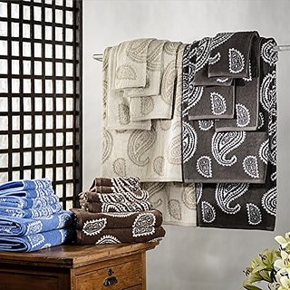 REVERSIBLE 100% Cotton 6 Piece PAISLEY Towel Set CHOCOLATE BY MARRIKAS