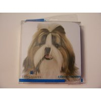 Westport Collection Dog Themed Cork-backed Coasters ~ Shih Tzu (Set Of 4 Coasters)