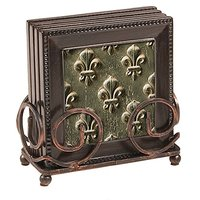 Fleur De Lis 5 Piece Ambiance Coaster Gift Set: 4 Coasters And 1 Holder