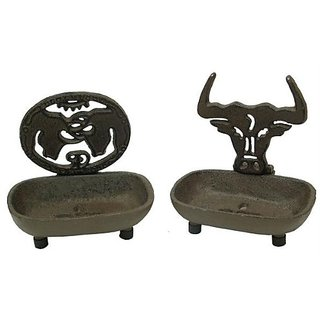 Iwgac Table Top Wall Mounted Cast Iron Rust Western Soap Holder Dish Set of 2
