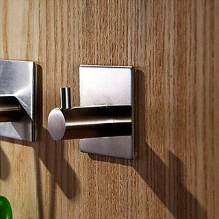 Aibathroom W102V1 3M Self Adhesive Stainless Steel Coat and Robe Hook Towel Wall Hanger, Brushed Finish (1 Hook)
