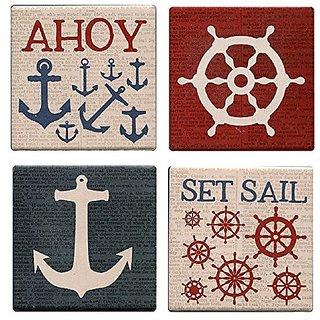 Ahoy Mates Set Sail Wheel and Anchor Nautical Set of 4 Sandstone Coasters