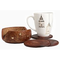 Set Of 6 Fine Polished Wooden Bar Coasters And Round Holder Adorned With Brass Inlay