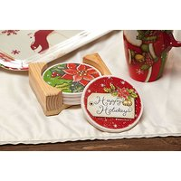 Happy Holidays Absorbant Coasters, Set Of 4, With Wood Caddy