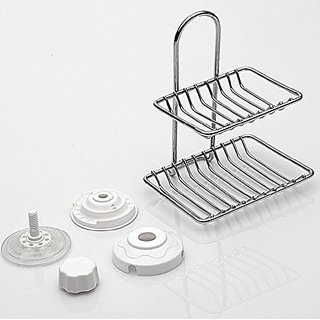 E-accexpert Stainless Steel Dual Shelf Soap Saver Draining Rack, Soap Dish, Soap Holder with Strong Hold Suction for Sho
