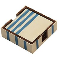 Set Of 4 Coasters And Holder - Drink Beverage Wood Coasters & Holders - White And Blue Handmade Wooden Square Coaster