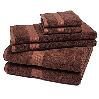 Bamboo Towel Set Super Soft and Absorbent - 6 Pieces - by ExceptionalSheets, Chocolate