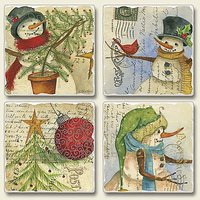 Wintry Snowmen Picture Perfect Post Card Christmas Absorbent Coasters Set Of 4
