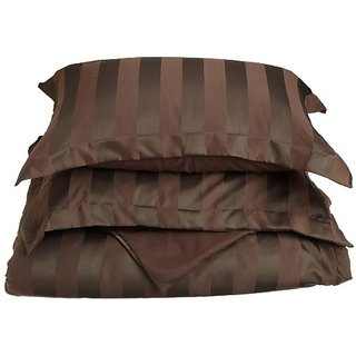Divatex 90 GSM Woven Dobby Stripe Microfiber Duvet Full/Queen Mini Set, Chocolate
