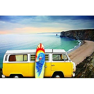 Design with Vinyl Color 166 Woodstock Hippie Truck Living Room Home Decor Bedroom Living Room Picture Art Graphic Design