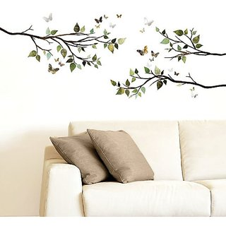DCWV Home Peel and Stick Wall Art with 3D Embellishments, Branches and Butterflies