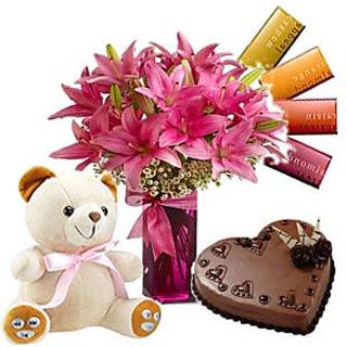 Lilies Flower Teddy Gift Hamper
