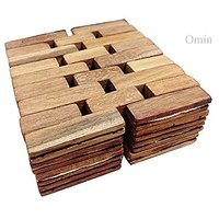 (Set Of 4) Teak Wood Wooden Coasters Drink, Wooden Mat, Cup Mat Square Coasters Dia 5.6 Inch