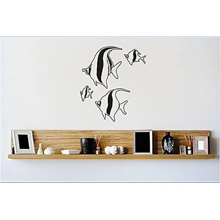 Design with Vinyl 2 Zzz 472 Decor Item School of Fish Image Wall Decal Sticker, 16 x 16-Inch, Black