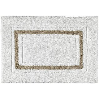 Kassatex Framed Stripe Bathrug - White/Bisque