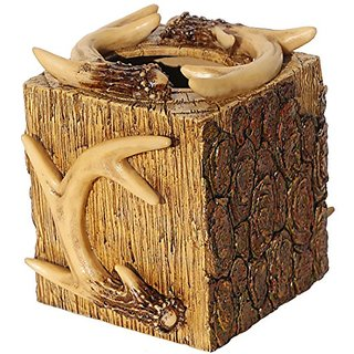 Rustic Deer Antler & Tree Bark Square Tissue Box Cover