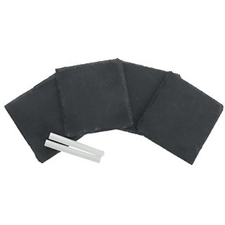 4 piece natural slate stone coaster set with 2 pcs. of Chalk