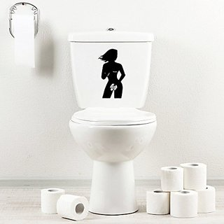 StickAny Bathroom Decal Series GirlHoldingAppleBoobs Sticker for Toilet Bowl, Bath, Seat (Black)