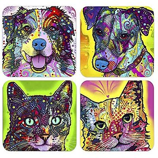 Set of 4 Colorful Dog and Cat Coasters with Stand Each 4