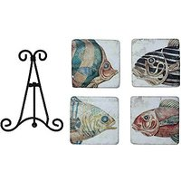 Creative Co-Op Resin Fish Coasters With Metal Easel