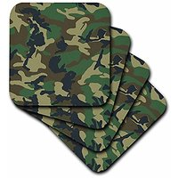 3dRose Cst_20353_2 Green Camoflauge Print Soft Coasters, Set Of 8