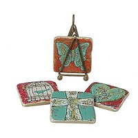 Creative Co-Op Emily Little Resin Coasters With Metal Stand