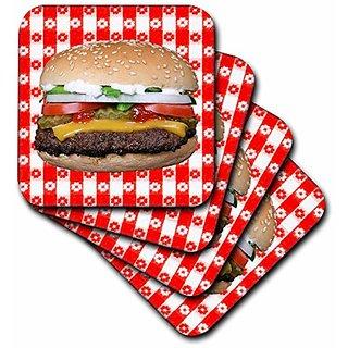 3dRose Juicy Hamburger Picnic - Soft Coasters, Set of 8 (cst_48069_2)
