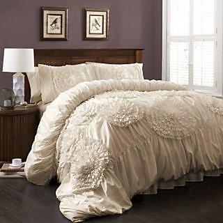Lush Decor Serena 3-Piece Comforter Set, Queen, Ivory