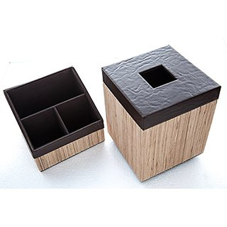Handmade Wicker Organizer and Tissue Box Holder with Elevated Base for Better Grip (Square, Light Brown)