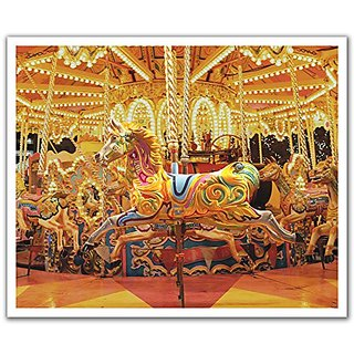 JP London POSLT2135 uStrip Lite Removable Wall Decal Sticker Mural Magical Carousel Merry Go Round Horses, 24-Inch x 19.