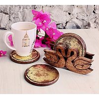 Decorative Round Wooden Drink Coasters Set Of 4 And Hand Carved Duck Shaped Holder With Gold Foiled Walnut Finish