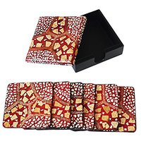 Red Masonry Style Lacquer Coaster Set Of 6 Coasters (4683)