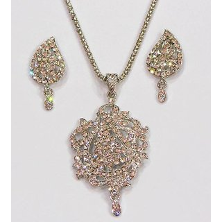 Silver Crystals Pendent Set With Earrings Discount Rates.GLITZY BY ROOHIE