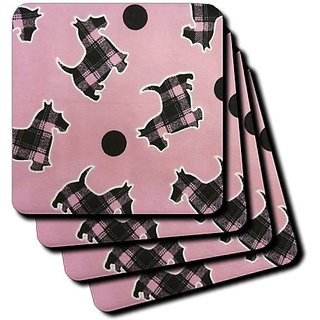 3dRose cst_39085_2 Pink and Black Scottish Terriers on Pink Soft Coasters, Set of 8