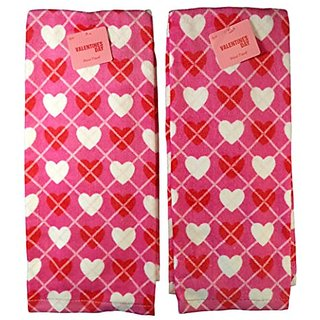 Valentines Day Plaid Hearts Hand Towel, Pack of (2)